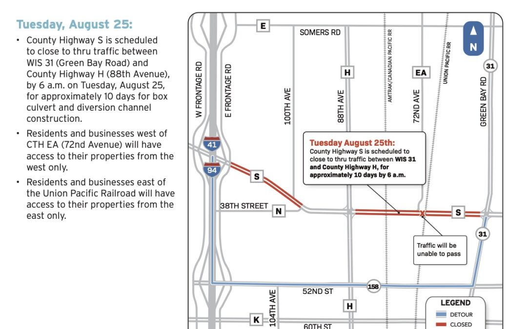 Highway S project update:  Temporary through-traffic closure to begin Aug. 25