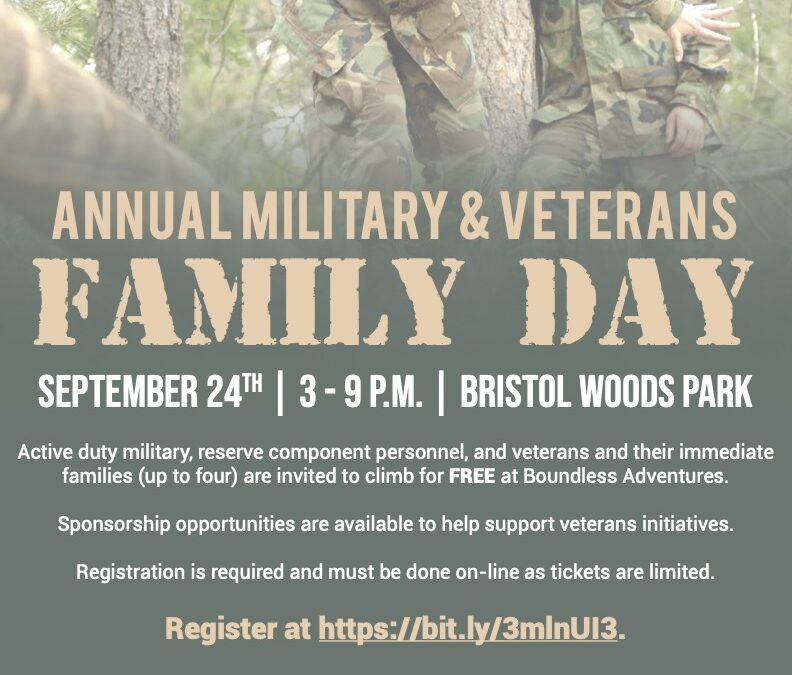 Free Military and Veterans Family Day to be held at Boundless Adventures Sept. 24